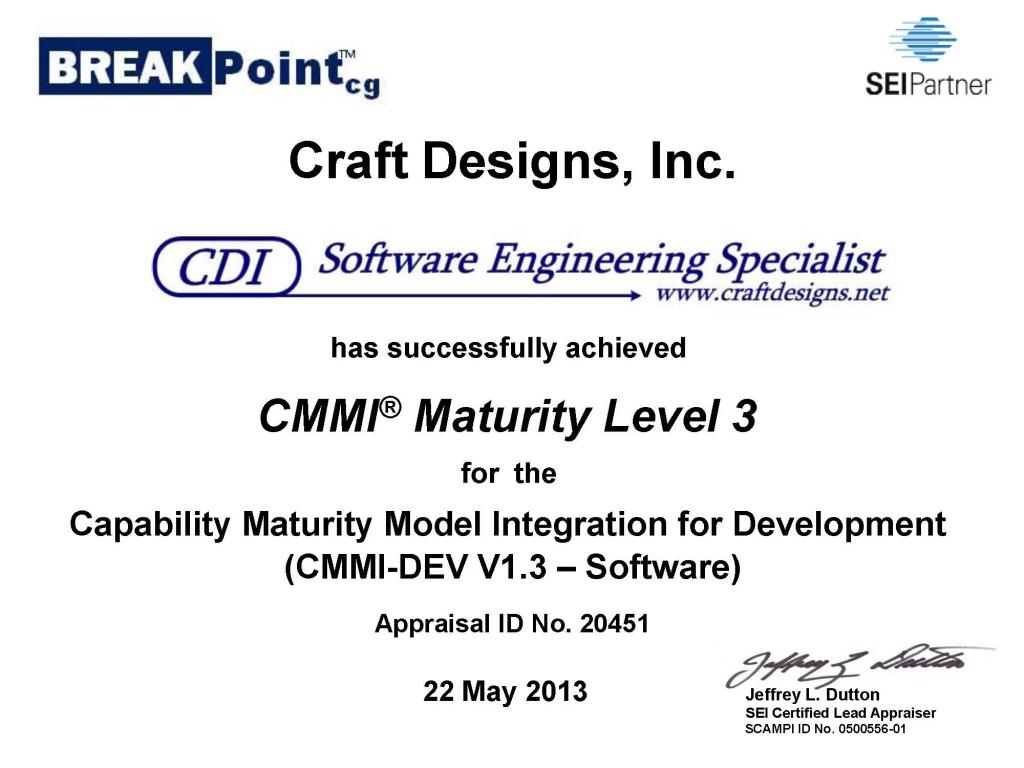 CDI CMMI-DEV 1.3 ML3 Certificate 2013